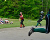 Leland & Gray's Jordan Gouger makes it safely to third base during a softball game on Thursday, May, 26, that was a continuation of a game started  on Friday, May 13, 2016. Leland & Gray would beat Twin Valley 19-0. Kristopher Radder / Reformer Staff