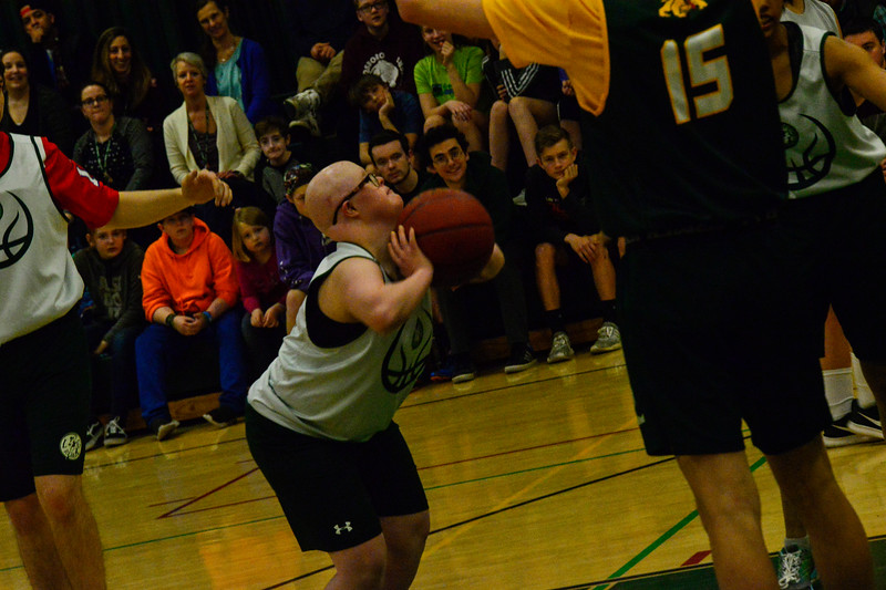 KRISTOPHER RADDER — BRATTLEBORO REFORMER<br /> Leland & Gray's Sammantha Pelton takes an attempt during a unified basketball game at Leland & Gray Union High School on Thursday, April 11, 2019.