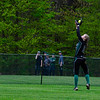 KRISTOPHER RADDER - BRATTLEBORO REFORMER<br /> Leland & Gray's Sarah Anderson reach high to catch the ball during a softball game at Leland & Gray Union Middle and High School on Tuesday, May 9, 2017.