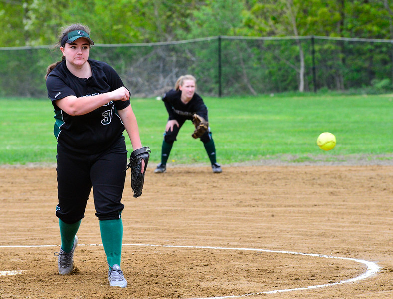 KRISTOPHER RADDER - BRATTLEBORO REFORMER<br /> Leland & Gray's Olivia Brown pitches against Hartford during a softball game at Leland & Gray Union Middle and High School on Tuesday, May 9, 2017.