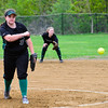 KRISTOPHER RADDER - BRATTLEBORO REFORMER <br /> Leland & Gray's Olivia Brown pitches against Hartford during a softball game at Leland & Gray Union Middle and High School on Tuesday, May 9, 2017.