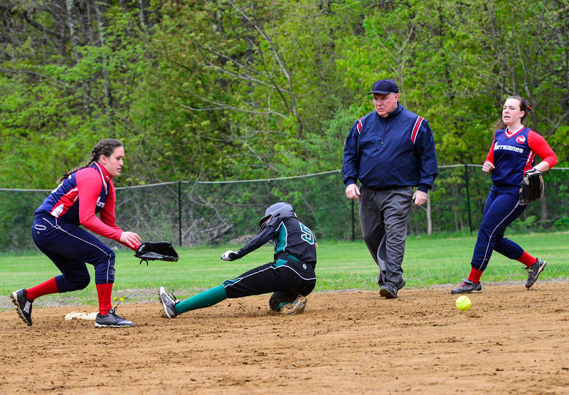 KRISTOPHER RADDER - BRATTLEBORO REFORMER <br /> Leland & Gray's Sarah Anderson slides into second before Hartford's Brook Hurd could apply the tag during a softball game at Leland & Gray Union Middle and High School on Tuesday, May 9, 2017.