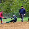KRISTOPHER RADDER - BRATTLEBORO REFORMER<br /> Leland & Gray's Sarah Anderson slides into second before Hartford's Brook Hurd could apply the tag during a softball game at Leland & Gray Union Middle and High School on Tuesday, May 9, 2017.