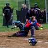 KRISTOPHER RADDER - BRATTLEBORO REFORMER <br /> Leland & Gray's Jessie Stockwell slides into home plate while Hartford's Jasmyn Rogers could not hold onto the ball during a softball game at Leland & Gray Union Middle and High School on Tuesday, May 9, 2017.