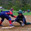 KRISTOPHER RADDER - BRATTLEBORO REFORMER <br /> Leland & Gray's Mackenzie Boyle could not beat the tag at first from Hartford's Jordyn Pallmerine during a softball game at Leland & Gray Union Middle and High School on Tuesday, May 9, 2017.