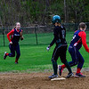 KRISTOPHER RADDER - BRATTLEBORO REFORMER <br /> A high-scoring back and forth between Leland & Gray and Hartford's softball teams during a game at Leland & Gray Union Middle and High School on Tuesday, May 9, 2017.