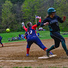 KRISTOPHER RADDER - BRATTLEBORO REFORMER<br /> Hartford's Jordyn Pallmerine could not reach the ball allowing Leland & Gray's Rachel Borgesen to advance to second base during a softball game at Leland & Gray Union Middle and High School on Tuesday, May 9, 2017.