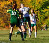 Leland & Gray's Mariah Hazard gets control of the ball during a girls' varsity soccer match against Green Mountain on Wednesday, Oct. 19, 2016. Kristopher Radder / Reformer Staff