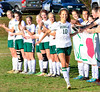 Leland & Gray's Emma Bourne gives a high-five to her teammates as her name is called during a Senior Day game against Green Mountain on Wednesday, Oct. 19, 2016. Kristopher Radder / Reformer Staff