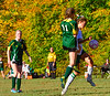 Leland & Gray's Emma Bourne gets control of the ball over Green Mountain's Brigid Karl during a girls' varsity soccer match on Wednesday, Oct. 19, 2016. Kristopher Radder / Reformer Staff