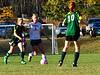 Leland & Gray's Mackenzie Boyle tries to get past Green Mountain's defender during a girls' varsity soccer match on Wednesday, Oct. 19, 2016. Kristopher Radder / Reformer Staff