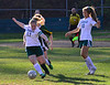 Leland & Gray's Jessie Stockwell kicks the ball down the field during a girls' varsity soccer match against Green Mountain on Wednesday, Oct. 19, 2016. Kristopher Radder / Reformer Staff
