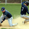 BB_LM Spr_3011<br /> Springfield's Luke Pollock steals second base as Lower Moreland's Rob Hoffman stops a wide throw in the dirt.<br /> Bob Raines 04.10.12