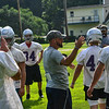 KRISTOPHER RADDER — BRATTLEBORO REFORMER<br /> Brattleboro's football coach Chad Pacheco talks to members of his team during the first day of football practice on Monday, Aug. 12, 2019.