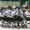 York's Lady Wildcats celebrate after winning the Girls Hockey Maine Western Conference Semi-Finals with The York Lady Wildcats vs Falmouth Lady Yachtsmen on Monday 2-11-2013 @ The Dover Ice Rinks, Dover NH.  Photo by Matt Parker
