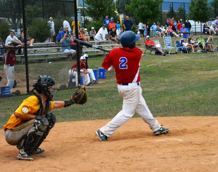 Roslyn Blue Hawks 2014 Tyler Robbins at bat during the 7th inning. Photo by Debby High