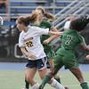 Wissahickon's Cailin Grey beats Pennridge's Natalia Pinkney on a header.    Montgomery Media photo by Bob Raines_ 09/28/11