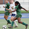 Wissahickon's Laura Frankenfield moves to block a shot by Pennridge's Natalia Pinkney.   Montgomery Media photo by Bob Raines_ 09/28/11