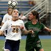 Wissahickon's Maureen Beichert beats Pennridge's Sarah Wiley on a head ball.   Montgomery Media photo by Bob Raines_ 09/28/11