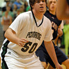 Jared Schaffer plays defense in game against CB East. 1-28-11