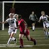 GS_PR OJR 8121_Pennridge's Julie Rufe traps the ball, redirecting away from Owen J. Roberts' Meghan Antrim.      Bob Raines 11.15.11