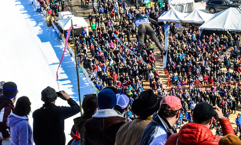 KRISTOPHER RADDER - BRATTLEBORO REFORMER<br /> Thousands of people watch Zak Silih during the Pepsi Challenge / US Cup at the Harris Hill Ski Jump in Brattleboro, Vt., on Saturday, Feb. 18, 2017.  Urlaub came in 3rd in the US Cup with a final score of 274.5.