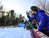 KRISTOPHER RADDER - BRATTLEBORO REFORMER<br /> People take photos of Tate Frantz during the Pepsi Challenge / US Cup at the Harris Hill Ski Jump in Brattleboro, Vt., on Saturday, Feb. 18, 2017. Frantz came in 8th in the junior division with a final score of 159.0.