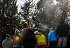 KRISTOPHER RADDER - BRATTLEBORO REFORMER<br /> Crowds watch Andrew Urlaub soar during the Pepsi Challenge / US Cup at the Harris Hill Ski Jump in Brattleboro, Vt., on Saturday, Feb. 18, 2017.  Urlaub came in 4th  in the junior division with a final score of 248.5.