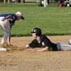 Perk Valley's Quinn Kelly slides into second base on a steal as a bad throw gets by Lafayette's Zack Scheier.