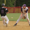 Upper Moreland's Lucas Armstrong blocks a wide, bouncing throw from the plate as Phoenixville's Cal Milano steals second..<br /> Bob Raines 5/24/10