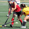 Ariana Horn, left, and Meg Messmer battle for the ball during field hockey practice at Plymouth Whitemarsh.<br /> Bob Raines 8/30/10