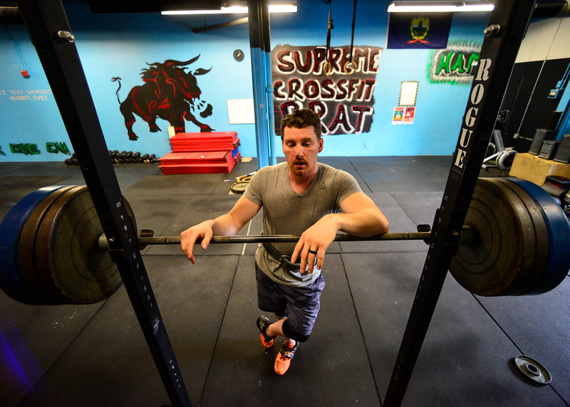 KRISTOPHER RADDER - BRATTLEBORO REFORMER<br /> Ian Currie, 31, of Springfield, Vt., lifts 315 pounds while training at Supreme Fitness in Brattleboro, Vt., on Monday, May 8, 2017. Currie will be competing with several others from around the world during Saturday's competition at Supreme Fitness.