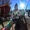 KRISTOPHER RADDER - BRATTLEBORO REFORMER<br /> Cristi Ciccio-Kloc, of Lake Placid, N.Y., waxes skis before the start of competition of the United States Cup / Pepsi Challenge at the Harris Hill Ski Jump in Brattleboro, Vt., on Saturday, Feb. 17, 2018.