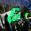 KRISTOPHER RADDER - BRATTLEBORO REFORMER<br /> Andraz Modic, of Slovenia, waxes his skis with his teammates before the start of competition of the United States Cup / Pepsi Challenge at the Harris Hill Ski Jump in Brattleboro, Vt., on Saturday, Feb. 17, 2018.