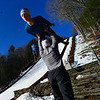 KRISTOPHER RADDER - BRATTLEBORO REFORMER<br /> Andrew Urlaub, of Eclair, Wis., gets the help from his coach Blake Hughes with his jump before the start of competition of the United States Cup / Pepsi Challenge at the Harris Hill Ski Jump in Brattleboro, Vt., on Saturday, Feb. 17, 2018.