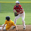 Roslyn's Sean Gallagher holds the throw to first after forcing Horsham's Eric Thomas at second.