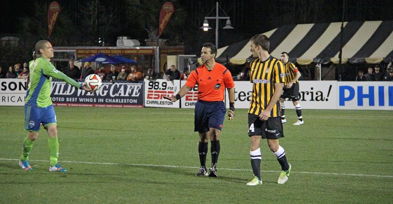 BATTERY player Jarad van Schaik with Osvaldo Alonso