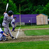 KRISTOPHER RADDER - BRATTLEBORO REFORMER<br /> Brattleboro's Kam Pelkey hits a line drive to score two runs against Colchester during a Division 1 Semifinal Playoff game at Brattleboro Union High School on Tuesday, June 5, 2018.