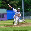 KRISTOPHER RADDER - BRATTLEBORO REFORMER<br /> Colchester's Saul Minaya pitches against Brattleboro during a Division 1 Semifinal Playoff game at Brattleboro Union High School on Tuesday, June 5, 2018.
