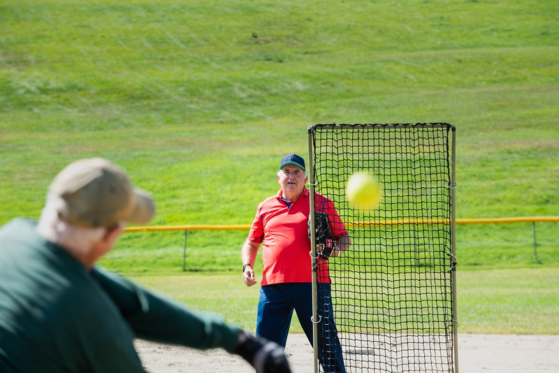 KELLY FLETCHER, REFORMER CORRESPONDENT -- Fred Moriarty swings at a pitch thrown by John Stetzel during Senior Softball -  a Recreation & Parks sponsored weekly gathering at Memorial Park on Tuesdays from 9:30 -11 AM.  They'll continue to play until the morning temperatures dip below 50 degrees. Men and women of all ages are welcome.