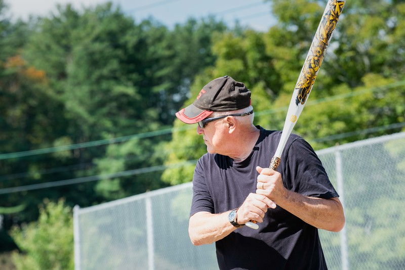 KELLY FLETCHER, REFORMER CORRESPONDENT -- Vince Schuck takes his turn at bat during Senior Softball -  a Recreation & Parks sponsored weekly gathering at Memorial Park on Tuesdays from 9:30 -11 AM.  They'll continue to play until the morning temperatures dip below 50 degrees. Men and women of all ages are welcome.