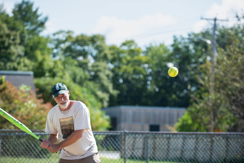 KELLY FLETCHER, REFORMER CORRESPONDENT -- Phil Kramer passes on a pitch at Senior Softball -  a Recreation & Parks sponsored weekly gathering at Memorial Park on Tuesdays from 9:30 -11 AM.  They'll continue to play until the morning temperatures dip below 50 degrees. Men and women of all ages are welcome.