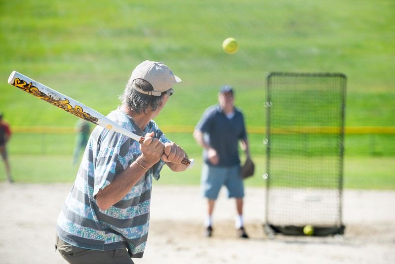KELLY FLETCHER, REFORMER CORRESPONDENT -- John Ogorzalek waits for a pitch thrown by Lloyd Graff at Senior Softball -  a Recreation & Parks sponsored weekly gathering at Memorial Park on Tuesdays from 9:30 -11 AM.  They'll continue to play until the morning temperatures dip below 50 degrees. Men and women of all ages are welcome.