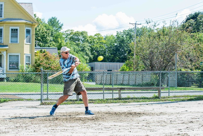 KELLY FLETCHER, REFORMER CORRESPONDENT -- John Ogorzalek swings at a pitch during Senior Softball -  a Recreation & Parks sponsored weekly gathering at Memorial Park on Tuesdays from 9:30 -11 AM.  They'll continue to play until the morning temperatures dip below 50 degrees. Men and women of all ages are welcome.