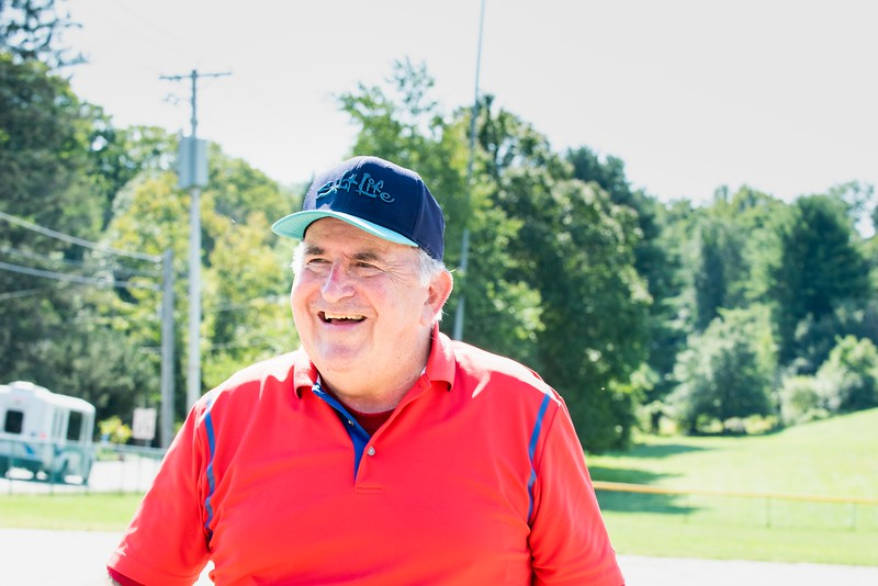 John Stetzel, who started senior softball somwhere around 30 years ago, flashes a smile at the end of the session1. Senior Softball is a Recreation & Parks sponsored weekly gathering a Memorial Park from 9:30 - 11 AM.  They'll continue to play until the morning temperatures dip below 50 degrees. Men and women of all ages are welcome.