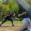 KRISTOPHER RADDER - BRATTLEBORO REFORMER<br /> Brattleboro's Hailey Derosia tries to get the ball that was hit by Mount Anthony Union's Rachael Jones during a softball game at Brattleboro Union High School on Wednesday, May 9, 2018.