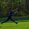 KRISTOPHER RADDER - BRATTLEBORO REFORMER<br /> Brattleboro's Kayla Leonard-Honk runs to catch the ball hit by Mount Anthony Union's Emily O'Brien during a softball game at Brattleboro Union High School on Wednesday, May 9, 2018.