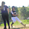 KRISTOPHER RADDER - BRATTLEBORO REFORMER<br /> Mount Anthony Union's Catherine Worthington makes it to third before Brattleboro's Lauren McKenney could get the ball during a softball game at Brattleboro Union High School on Wednesday, May 9, 2018.