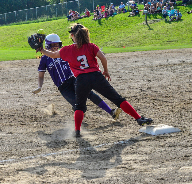 KRISTOPHER RADDER - BRATTLEBORO REFORMER<br /> Brattleboro's Hailey Derosia slides into third as Rutland could apply the tag during a softball game at Brattleboro Union High School on Friday, May 25, 2018.