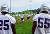 Members of the Brattleboro Union High School football team run through special team plays on the practice field on Thursday, Aug. 18, 2016.  Kristopher Radder / Reformer Staff